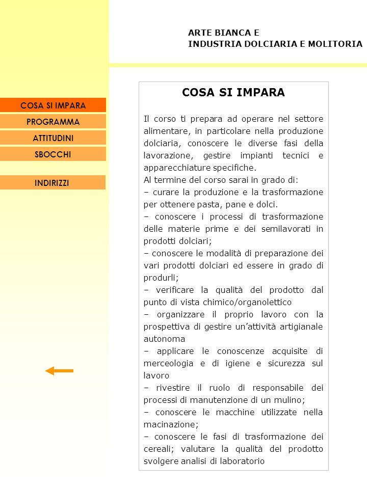 PROGRAMMA Operatore dell'industria dolciaria (3 anni) Operatore dell'industria molitoria (3 anni) Tecnico dell'arte bianca per l'industria dolciaria (biennio post-qualifica) Tecnico dell'arte bianca per l'industria molitoria (biennio post-qualifica) COSA SI IMPARA ARTE BIANCA E INDUSTRIA DOLCIARIA E MOLITORIA SBOCCHI ATTITUDINI PROGRAMMA COSA SI IMPARA INDIRIZZI