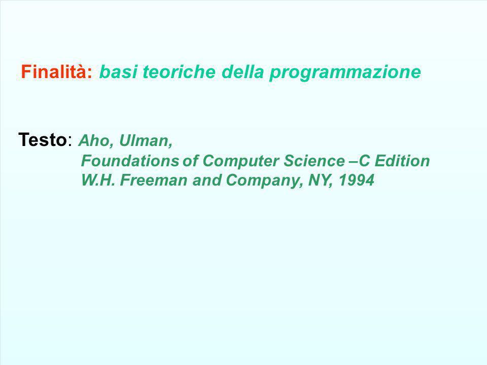 Finalità: basi teoriche della programmazione Testo: Aho, Ulman, Foundations of Computer Science –C Edition W.H. Freeman and Company, NY, 1994 Finalità