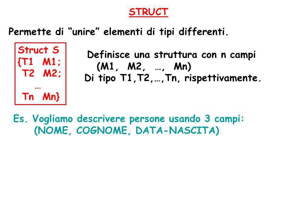 """STRUCT Permette di """"unire"""" elementi di tipi differenti. Es. Vogliamo descrivere persone usando 3 campi: (NOME, COGNOME, DATA-NASCITA) Struct S {T1 M1;"""