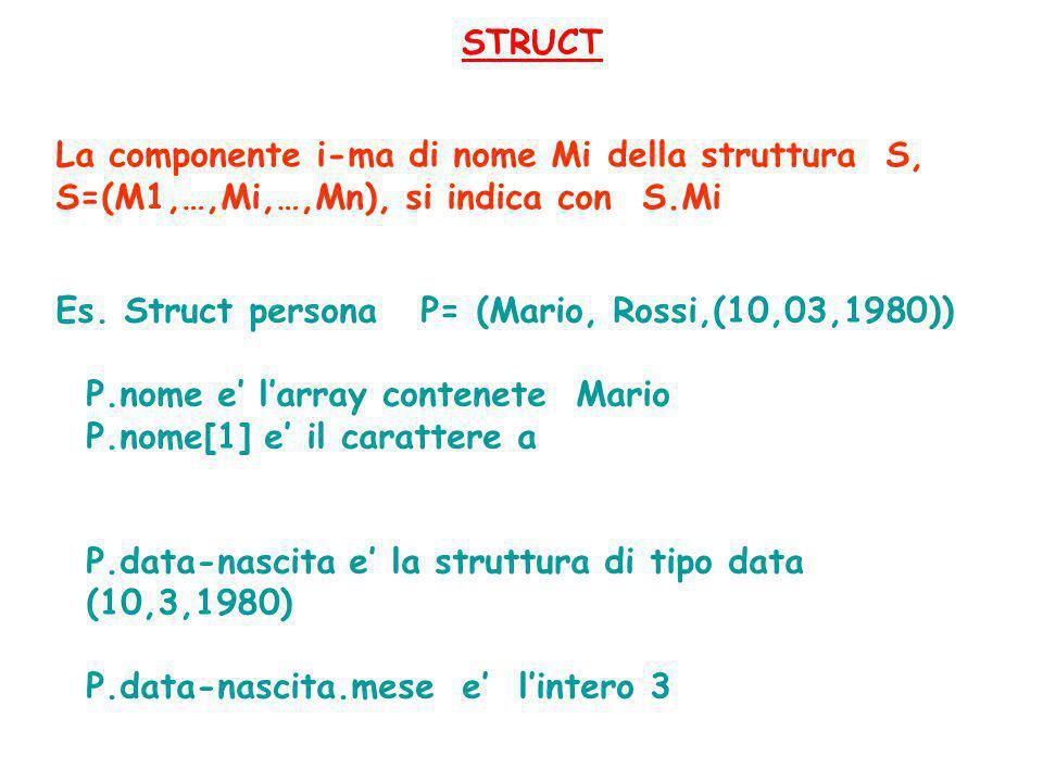 STRUCT Es. Struct persona P= (Mario, Rossi,(10,03,1980)) P.nome e' l'array contenete Mario P.nome[1] e' il carattere a P.data-nascita e' la struttura