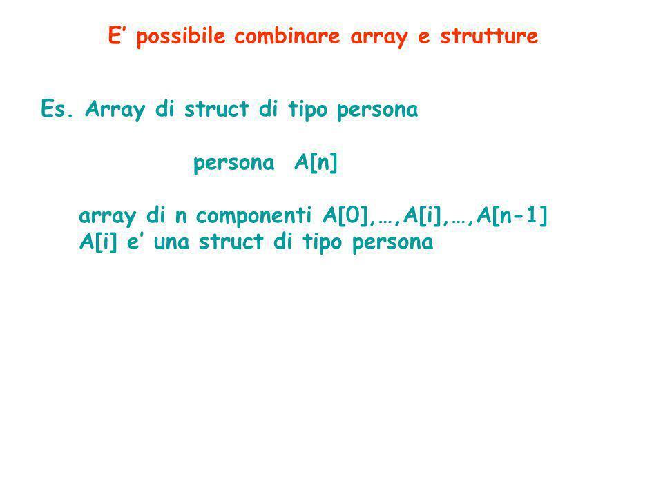 Es. Array di struct di tipo persona persona A[n] array di n componenti A[0],…,A[i],…,A[n-1] A[i] e' una struct di tipo persona E' possibile combinare