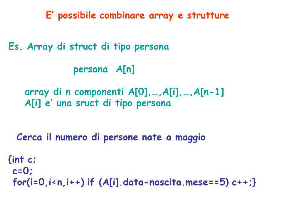 Es. Array di struct di tipo persona persona A[n] array di n componenti A[0],…,A[i],…,A[n-1] A[i] e' una sruct di tipo persona Cerca il numero di perso