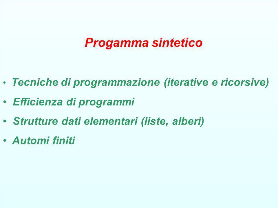 Progamma sintetico Tecniche di programmazione (iterative e ricorsive) Efficienza di programmi Strutture dati elementari (liste, alberi) Automi finiti