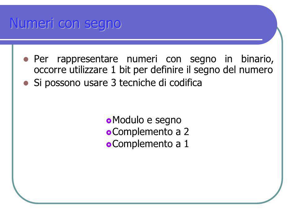 Numeri con segno Per rappresentare numeri con segno in binario, occorre utilizzare 1 bit per definire il segno del numero Si possono usare 3 tecniche
