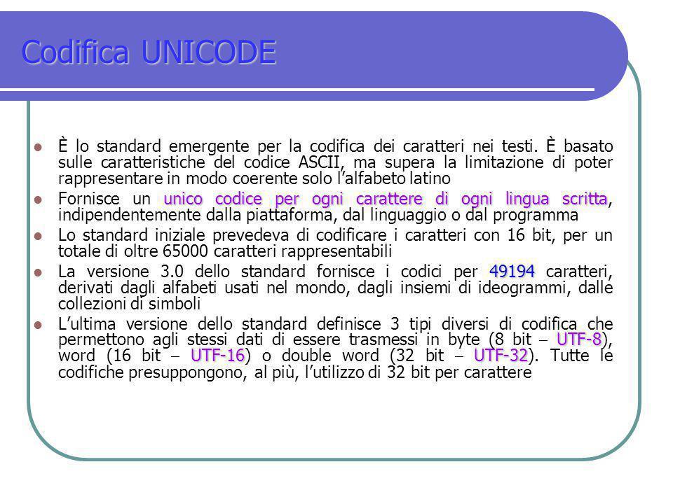 Codifica UNICODE È lo standard emergente per la codifica dei caratteri nei testi. È basato sulle caratteristiche del codice ASCII, ma supera la limita