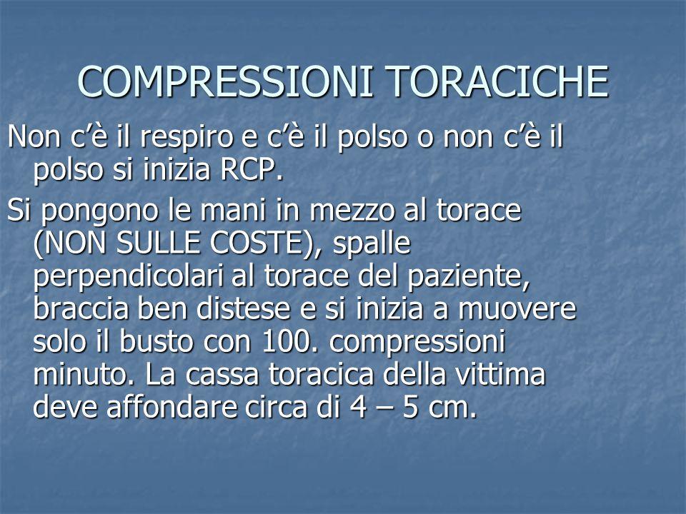 COMPRESSIONI TORACICHE Non c'è il respiro e c'è il polso o non c'è il polso si inizia RCP.
