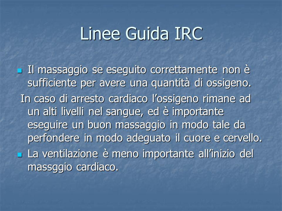 Linee Guida IRC Il massaggio se eseguito correttamente non è sufficiente per avere una quantità di ossigeno.