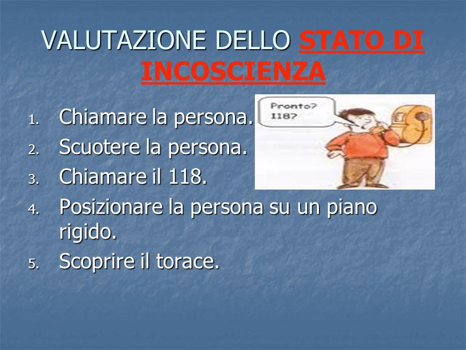 VALUTAZIONE DELLO VALUTAZIONE DELLO STATO DI INCOSCIENZA 1.