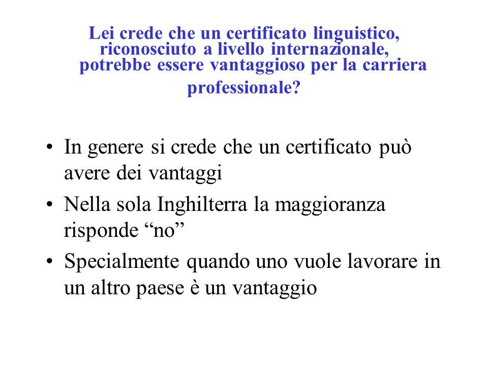 Lei crede che un certificato linguistico, riconosciuto a livello internazionale, potrebbe essere vantaggioso per la carriera professionale.