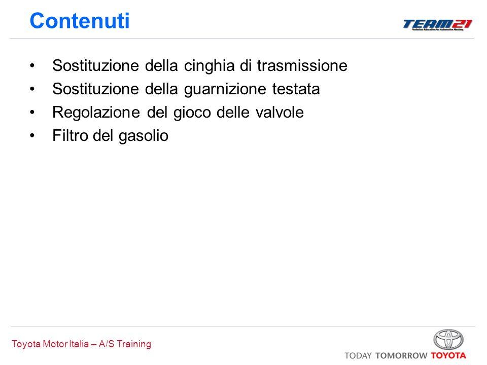 Toyota Motor Italia – A/S Training Contenuti Sostituzione della cinghia di trasmissione Sostituzione della guarnizione testata Regolazione del gioco d