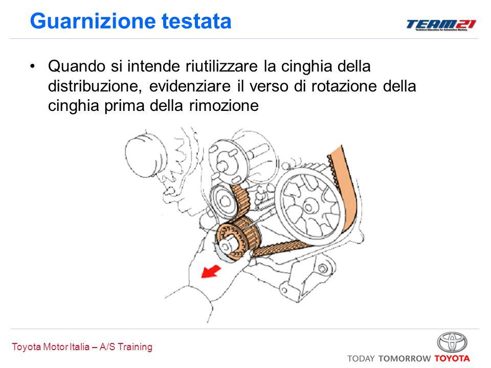 Toyota Motor Italia – A/S Training Guarnizione testata Quando si intende riutilizzare la cinghia della distribuzione, evidenziare il verso di rotazion