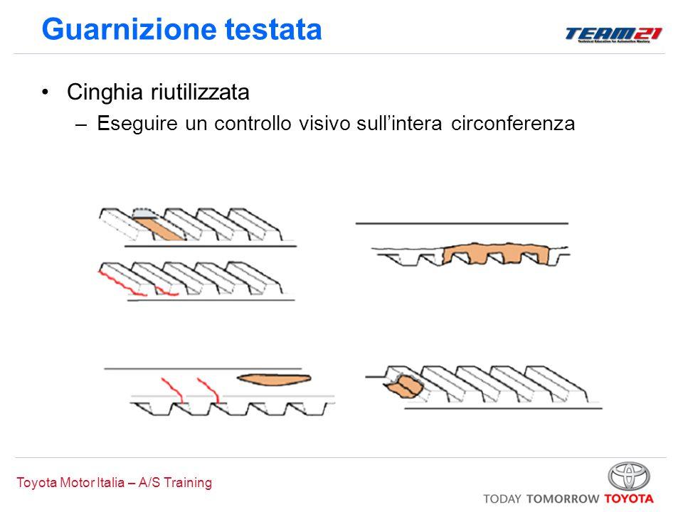 Toyota Motor Italia – A/S Training Guarnizione testata Cinghia riutilizzata –Eseguire un controllo visivo sull'intera circonferenza
