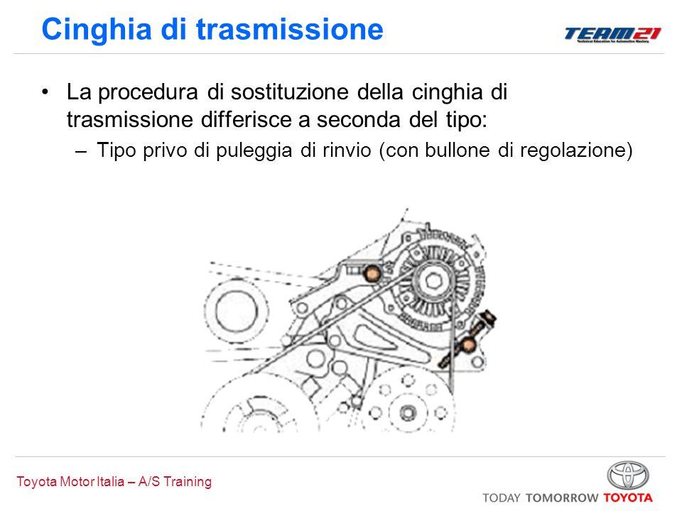 Toyota Motor Italia – A/S Training Cinghia di trasmissione La procedura di sostituzione della cinghia di trasmissione differisce a seconda del tipo: –Tipo con cinghia a serpentina (tenditore automatico)