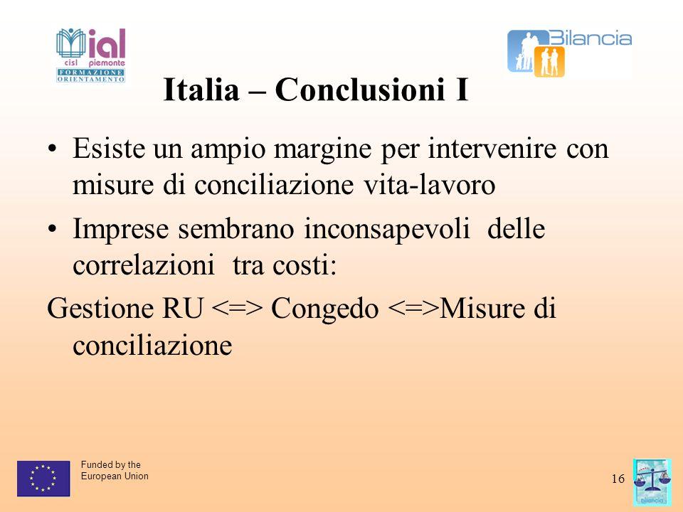 Funded by the European Union 16 Italia – Conclusioni I Esiste un ampio margine per intervenire con misure di conciliazione vita-lavoro Imprese sembran