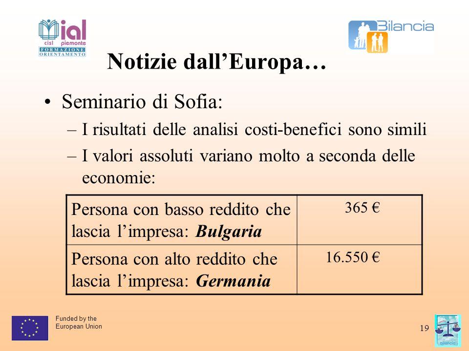 Funded by the European Union 19 Notizie dall'Europa… Seminario di Sofia: –I risultati delle analisi costi-benefici sono simili –I valori assoluti vari