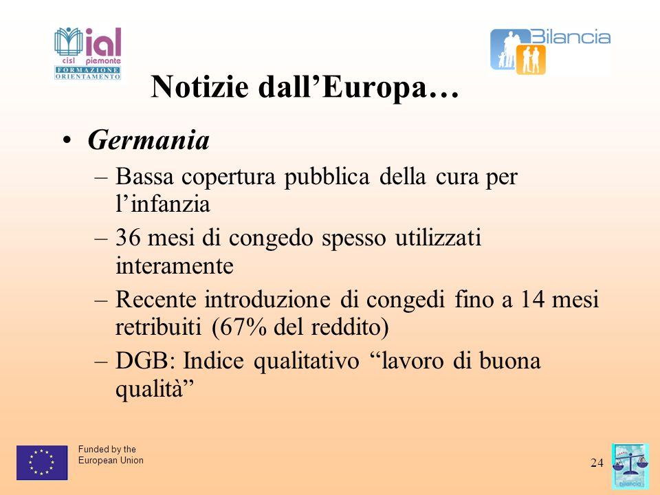 Funded by the European Union 24 Notizie dall'Europa… Germania –Bassa copertura pubblica della cura per l'infanzia –36 mesi di congedo spesso utilizzat