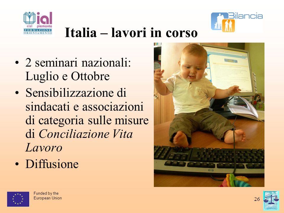 Funded by the European Union 26 Italia – lavori in corso 2 seminari nazionali: Luglio e Ottobre Sensibilizzazione di sindacati e associazioni di categ