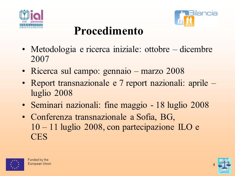Funded by the European Union 4 Procedimento Metodologia e ricerca iniziale: ottobre – dicembre 2007 Ricerca sul campo: gennaio – marzo 2008 Report tra