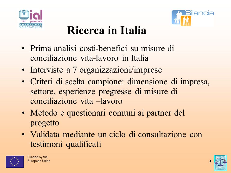 Funded by the European Union 5 Ricerca in Italia Prima analisi costi-benefici su misure di conciliazione vita-lavoro in Italia Interviste a 7 organizz