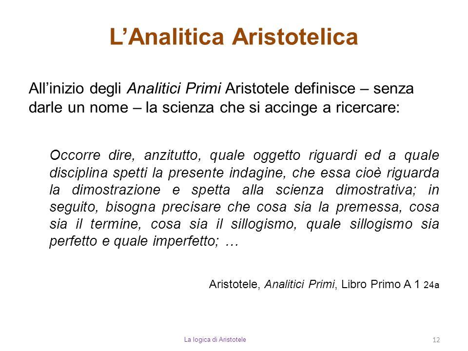 L'Analitica Aristotelica La logica di Aristotele 12 All'inizio degli Analitici Primi Aristotele definisce – senza darle un nome – la scienza che si ac