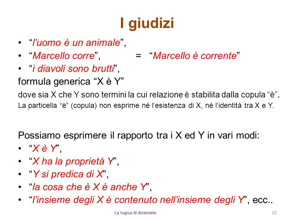 """I giudizi La logica di Aristotele 19 """"l'uomo è un animale"""", """"Marcello corre"""", = """"Marcello è corrente"""" """"i diavoli sono brutti"""", formula generica """"X è Y"""