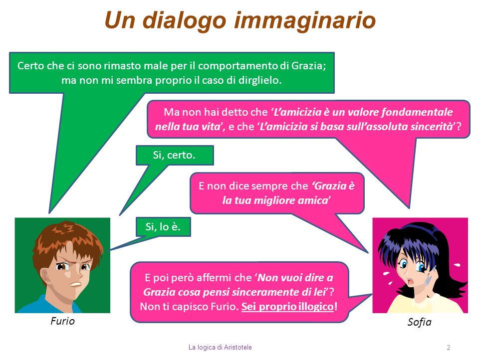 Un dialogo immaginario La logica di Aristotele 2 Furio Sofia Certo che ci sono rimasto male per il comportamento di Grazia; ma non mi sembra proprio i