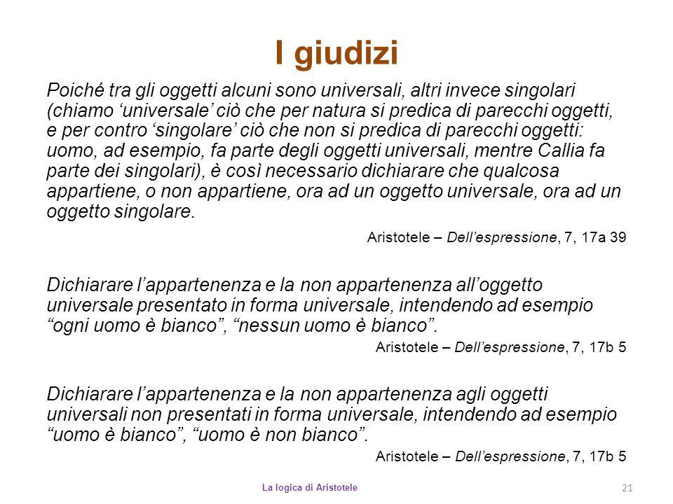 I giudizi La logica di Aristotele 21 Poiché tra gli oggetti alcuni sono universali, altri invece singolari (chiamo 'universale' ciò che per natura si