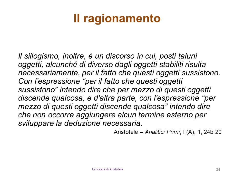 Il ragionamento La logica di Aristotele 24 Il sillogismo, inoltre, è un discorso in cui, posti taluni oggetti, alcunché di diverso dagli oggetti stabi