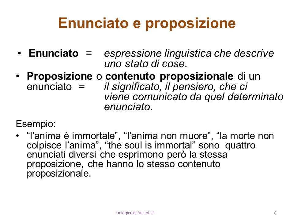 Enunciato e proposizione La logica di Aristotele 8 Enunciato = espressione linguistica che descrive uno stato di cose. Proposizione o contenuto propos