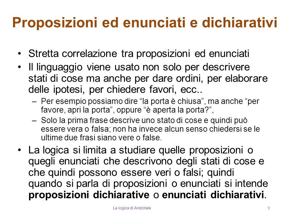 Proposizioni ed enunciati e dichiarativi La logica di Aristotele 9 Stretta correlazione tra proposizioni ed enunciati Il linguaggio viene usato non so