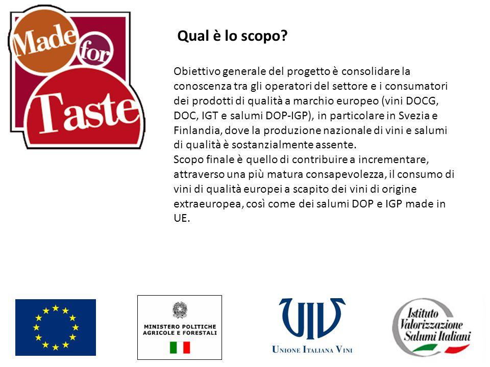 Qual è lo scopo? Obiettivo generale del progetto è consolidare la conoscenza tra gli operatori del settore e i consumatori dei prodotti di qualità a m