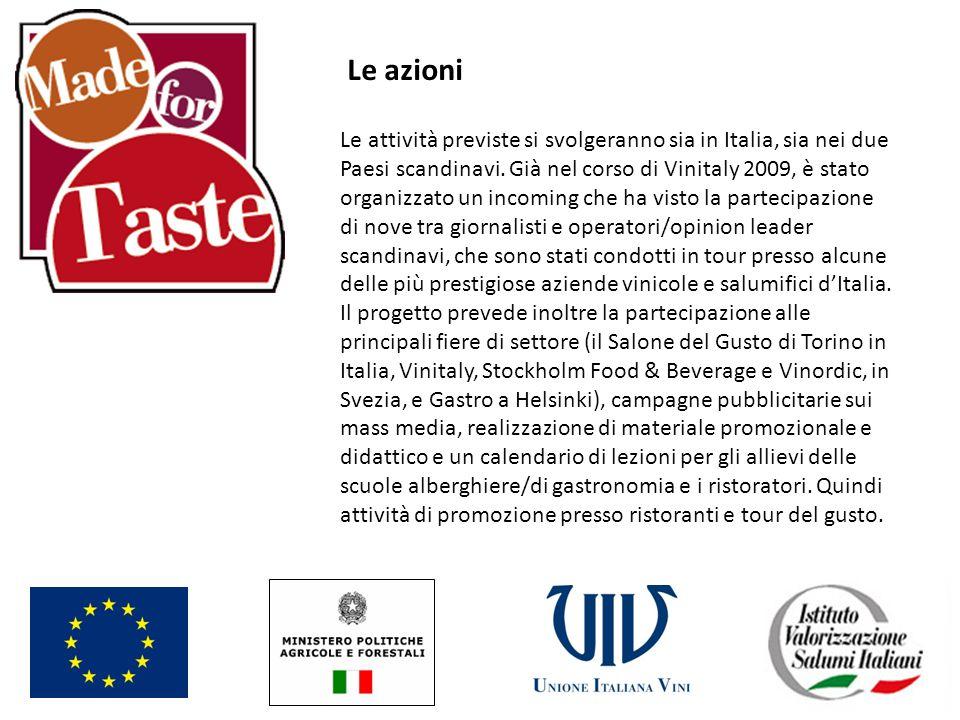 Le azioni Le attività previste si svolgeranno sia in Italia, sia nei due Paesi scandinavi. Già nel corso di Vinitaly 2009, è stato organizzato un inco
