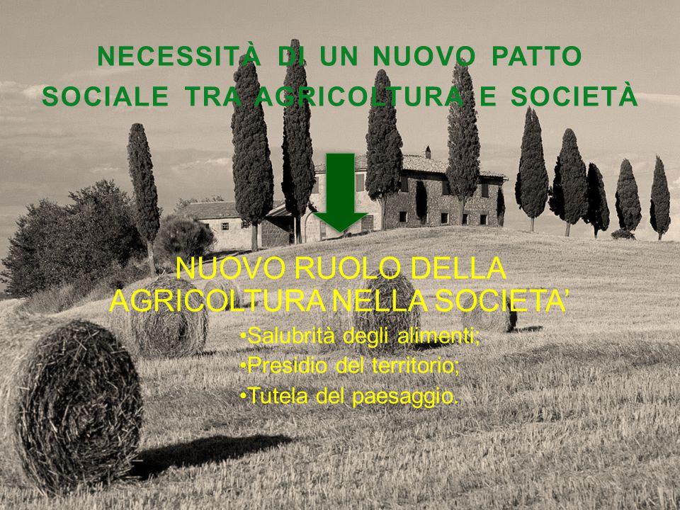 NECESSITÀ DI UN NUOVO PATTO SOCIALE TRA AGRICOLTURA E SOCIETÀ NUOVO RUOLO DELLA AGRICOLTURA NELLA SOCIETA' Salubrità degli alimenti; Presidio del territorio; Tutela del paesaggio.