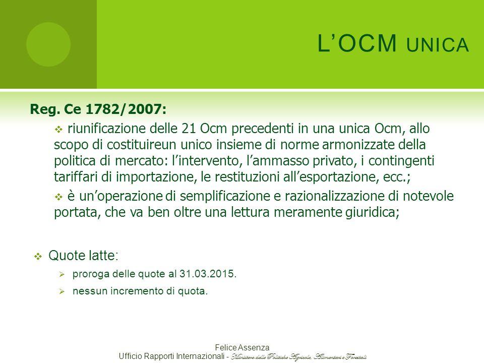 L'OCM UNICA Reg.