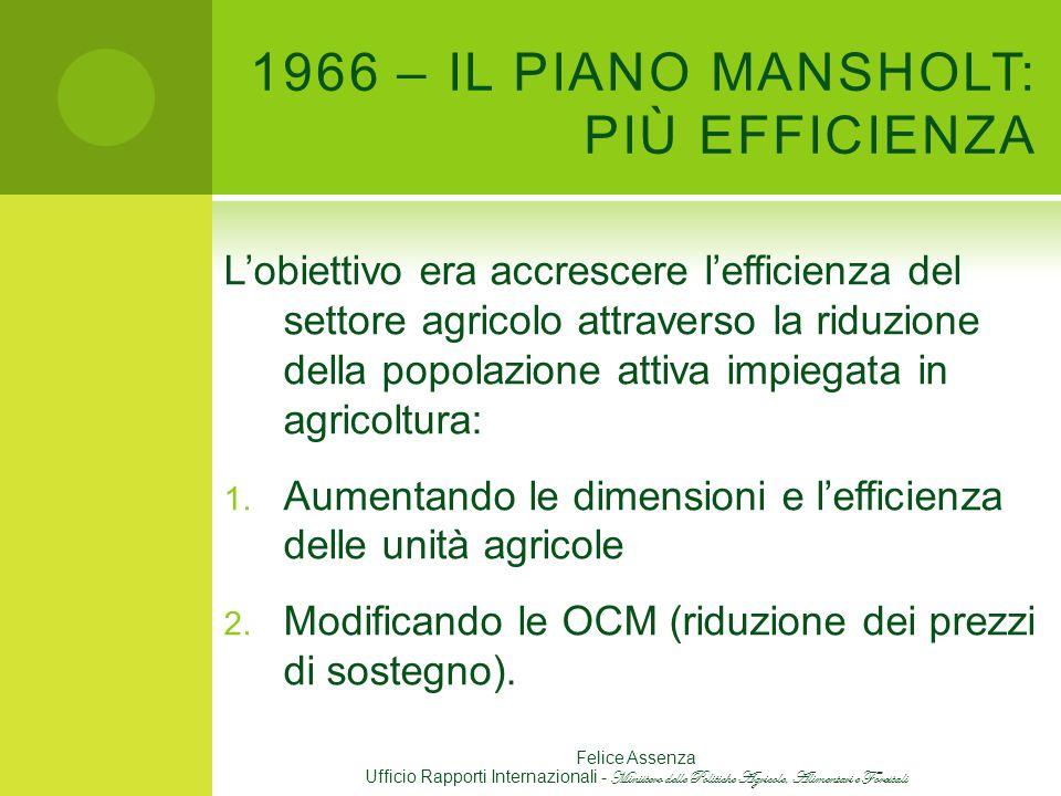 1966 – IL PIANO MANSHOLT: PIÙ EFFICIENZA L'obiettivo era accrescere l'efficienza del settore agricolo attraverso la riduzione della popolazione attiva impiegata in agricoltura: 1.