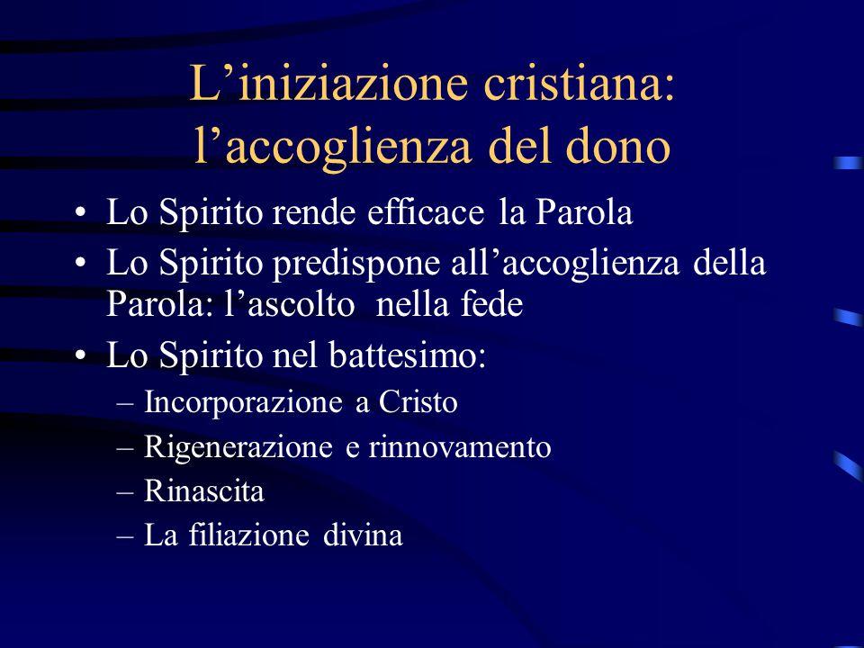 L'iniziazione cristiana: l'accoglienza del dono Lo Spirito rende efficace la Parola Lo Spirito predispone all'accoglienza della Parola: l'ascolto nell