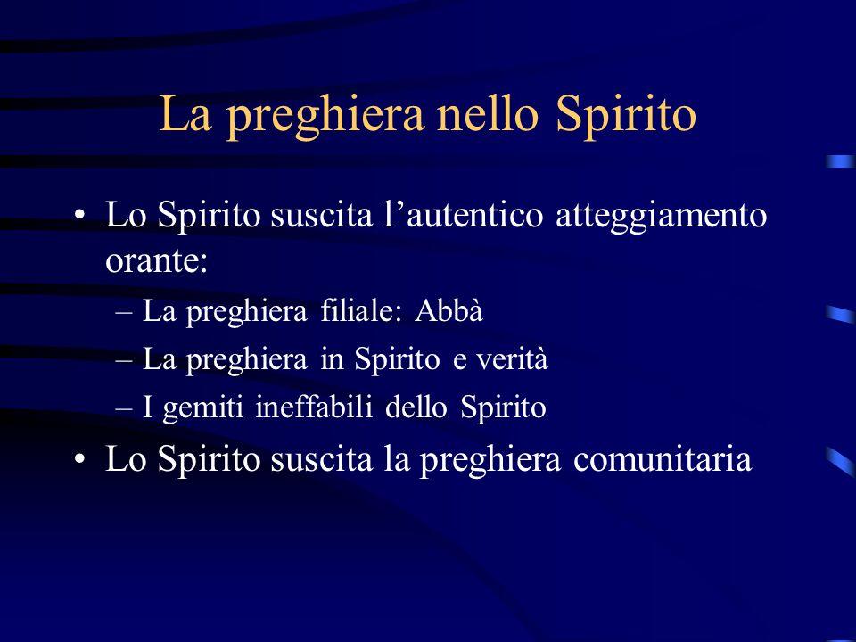 La comunione fraterna Lo Spirito anima la comunità cristiana Lo Spirito abita la comunità Lo Spirito fonte della confessione di fede Lo Spirito fonte della comunione fraterna