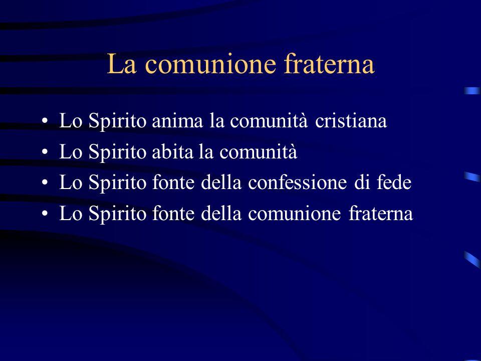 La comunione fraterna Lo Spirito anima la comunità cristiana Lo Spirito abita la comunità Lo Spirito fonte della confessione di fede Lo Spirito fonte