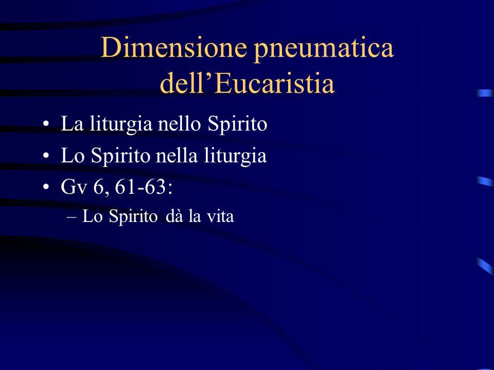 Dimensione pneumatica dell'Eucaristia La liturgia nello Spirito Lo Spirito nella liturgia Gv 6, 61-63: –Lo Spirito dà la vita