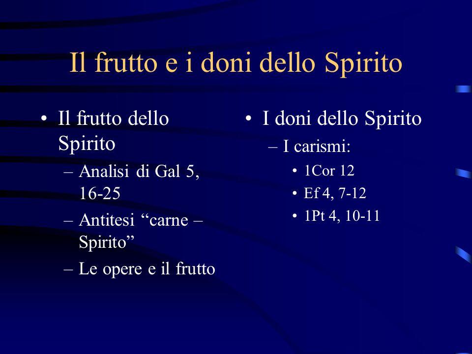 """Il frutto e i doni dello Spirito Il frutto dello Spirito –Analisi di Gal 5, 16-25 –Antitesi """"carne – Spirito"""" –Le opere e il frutto I doni dello Spiri"""