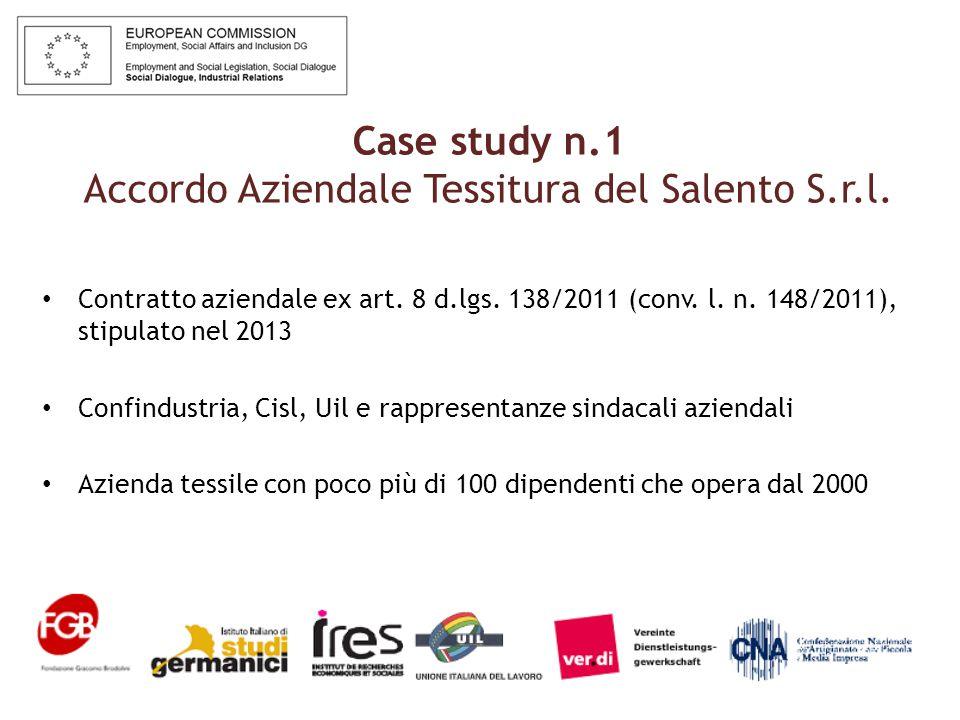 Case study n.1 Accordo Aziendale Tessitura del Salento S.r.l.