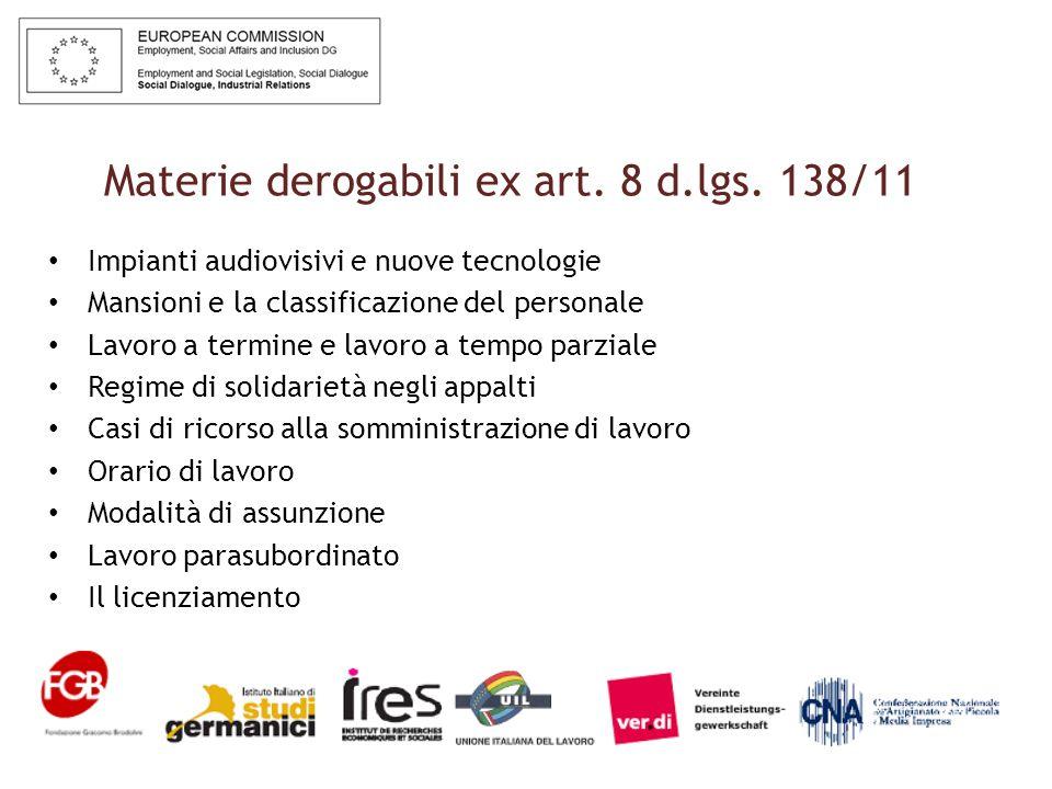 Materie derogabili ex art. 8 d.lgs.