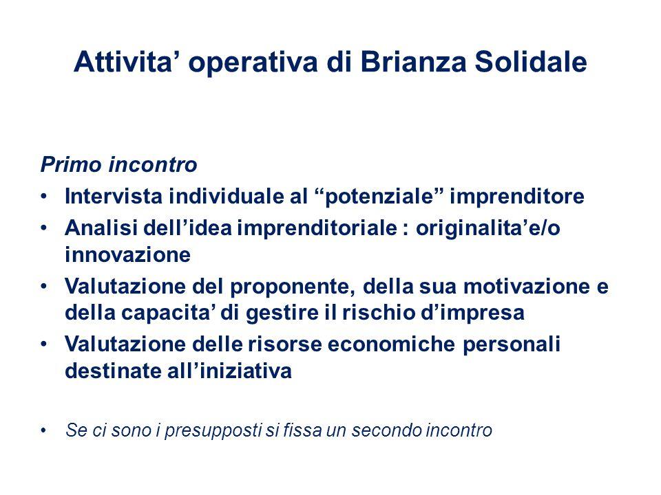 """Attivita' operativa di Brianza Solidale Primo incontro Intervista individuale al """"potenziale"""" imprenditore Analisi dell'idea imprenditoriale : origina"""