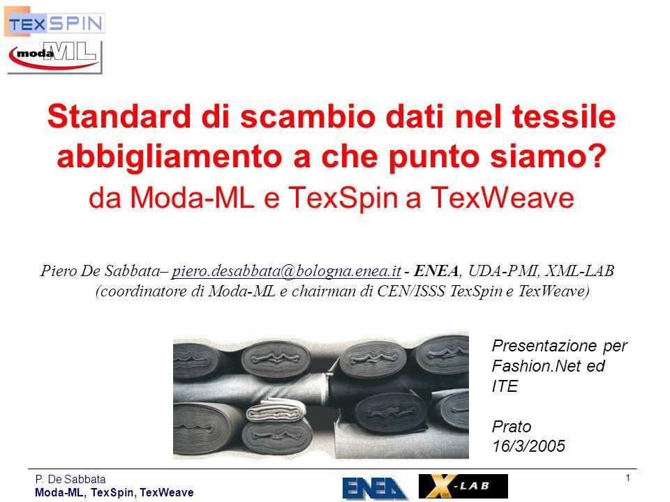 P. De Sabbata Moda-ML, TexSpin, TexWeave 1 Standard di scambio dati nel tessile abbigliamento a che punto siamo? da Moda-ML e TexSpin a TexWeave Piero