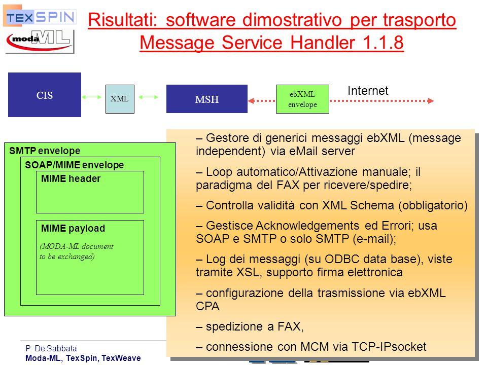 P. De Sabbata Moda-ML, TexSpin, TexWeave 19 Risultati: software dimostrativo per trasporto Message Service Handler 1.1.8 – Gestore di generici messagg