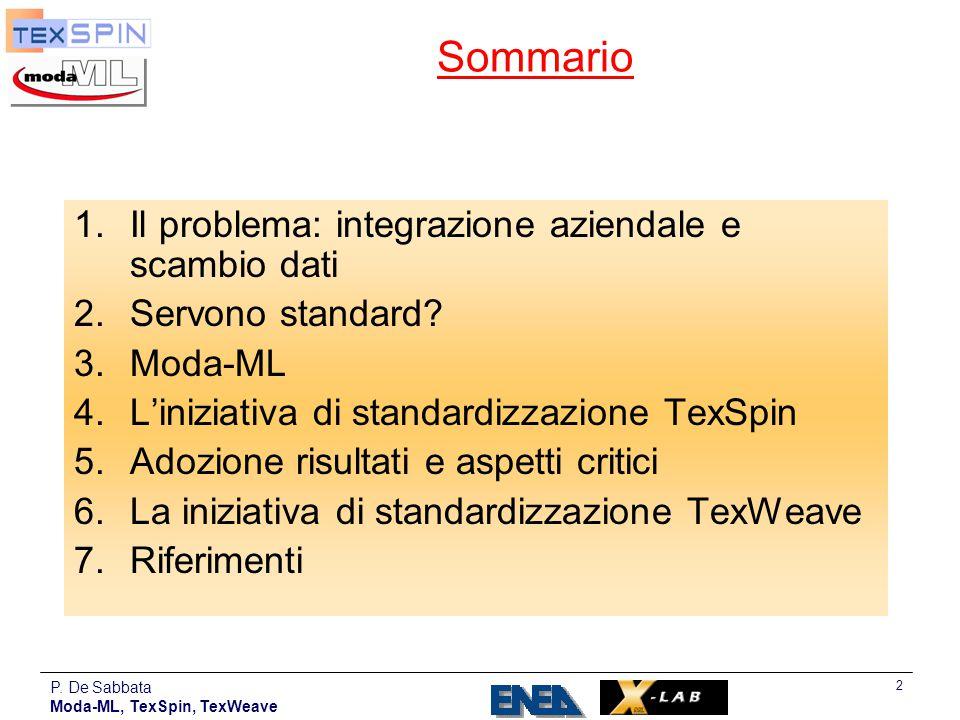 P. De Sabbata Moda-ML, TexSpin, TexWeave 2 Sommario 1.Il problema: integrazione aziendale e scambio dati 2.Servono standard? 3.Moda-ML 4.L'iniziativa