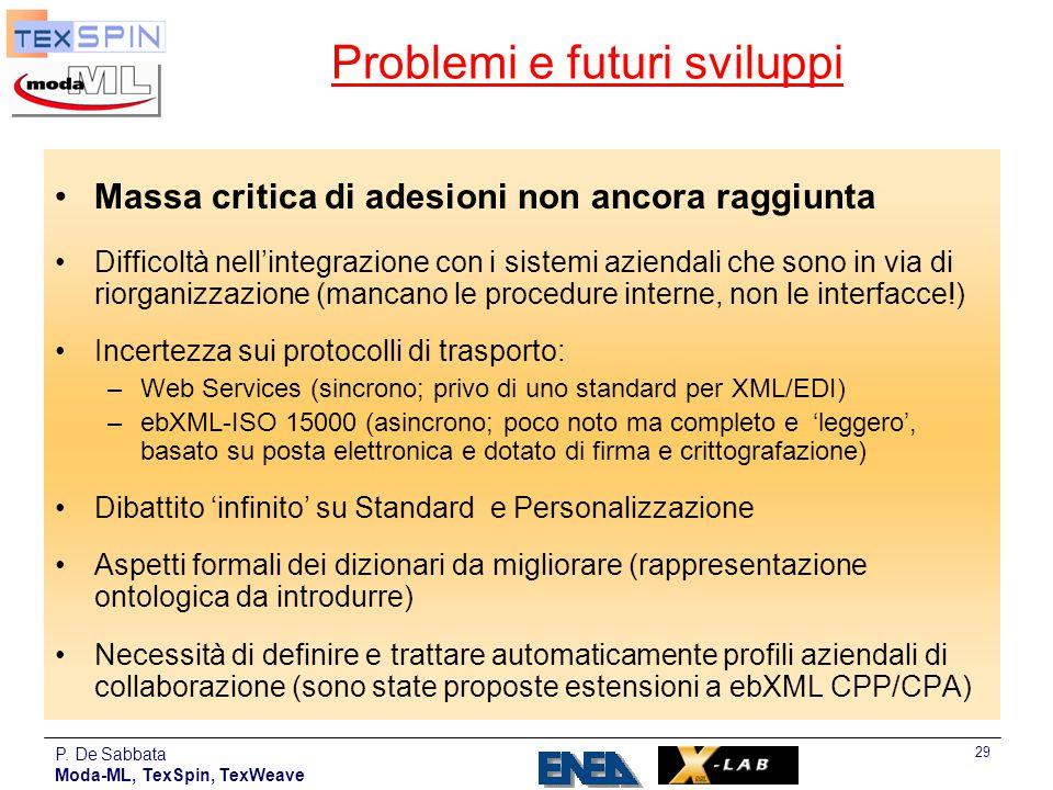 P. De Sabbata Moda-ML, TexSpin, TexWeave 29 Problemi e futuri sviluppi Massa critica di adesioni non ancora raggiunta Difficoltà nell'integrazione con