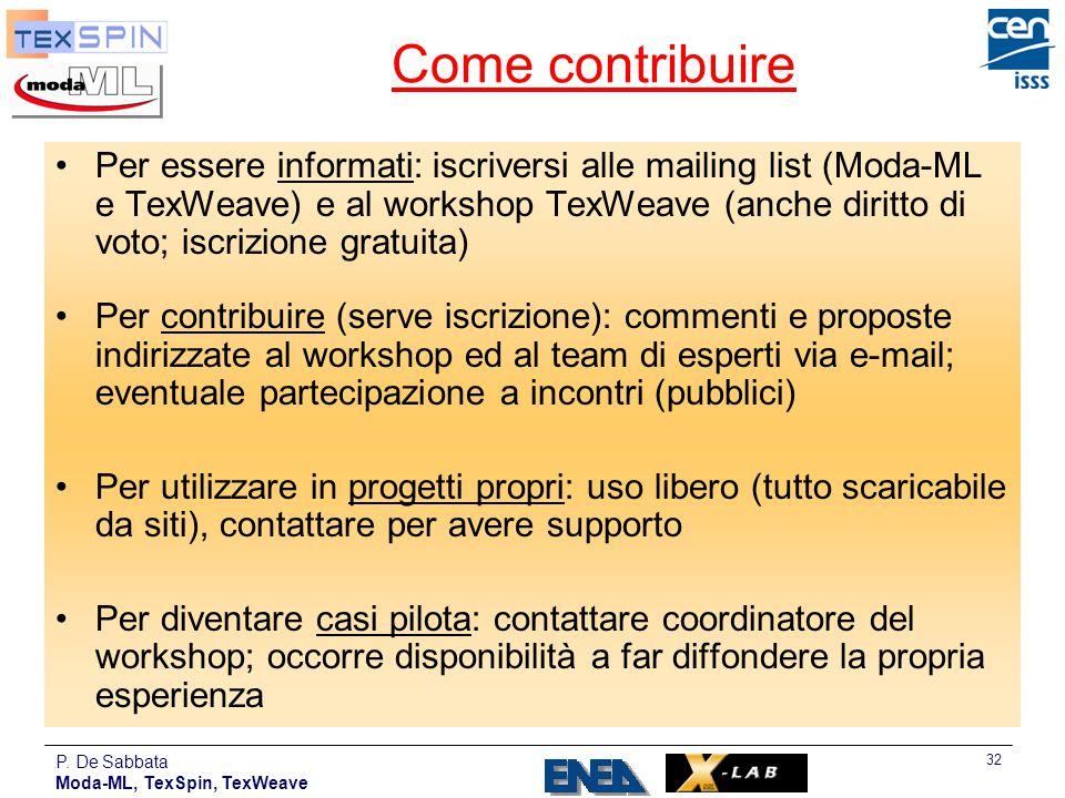 P. De Sabbata Moda-ML, TexSpin, TexWeave 32 Come contribuire Per essere informati: iscriversi alle mailing list (Moda-ML e TexWeave) e al workshop Tex