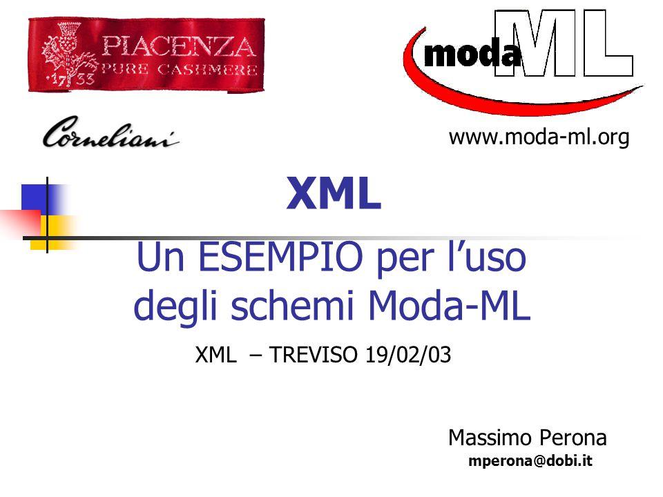 Massimo Perona XML Un ESEMPIO per l'uso degli schemi Moda-ML mperona@dobi.it www.moda-ml.org XML – TREVISO 19/02/03