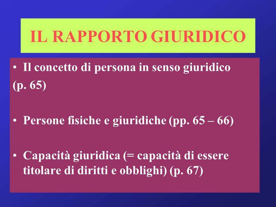 … segue: Capacità di agire (= capacità di modificare la propria sfera giuridica) (p.